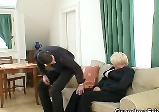 drunk granny is picked up and double drilled