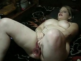 overweight mother i with large tits plays with