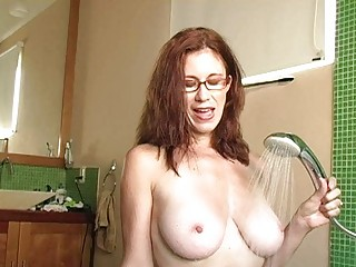 nasty redhead mother i with glasses gets cum on