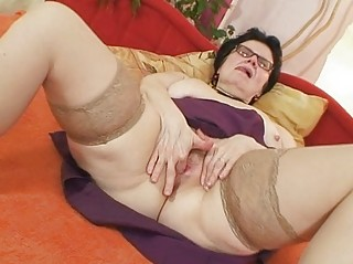 old grandma with glasses fingering unshaved twat