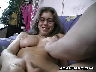 hairy non-professional wife toys and rides a
