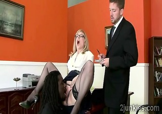 charming aged secretary gets tongued by sons