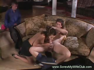 swinger wife has threesome as husband watches