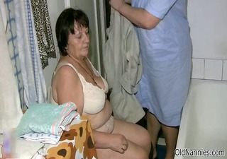 dirty chubby old woman receives her body rubbed