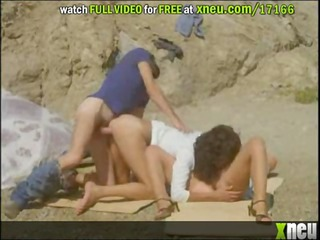 horny lesbo milfs receive drilled in a trio -