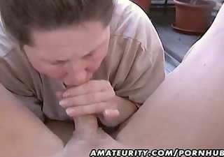 bulky non-professional wife homemade oral-job and