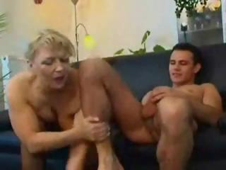 Chubby mature russian blonde eats his rod and