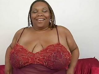 obese ebon momma with biggest bosom plays with