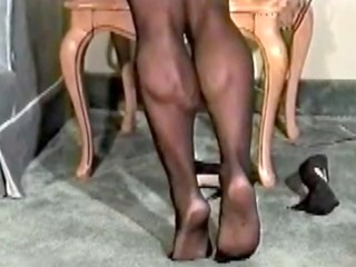 powerful calf muscles and hips in pantyhose