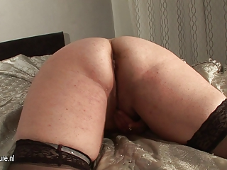 non-professional chubby older slut mama and her