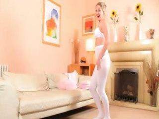 hot mom in white hose strip