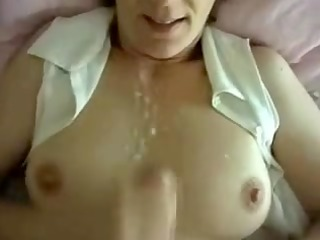 concupiscent wife private spunk flow on tits