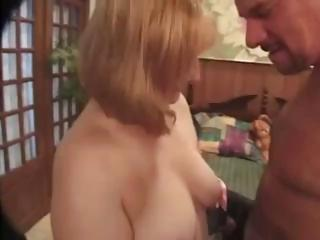 golden-haired milf with milky tits sucks and