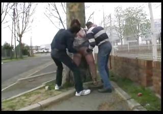 syvlie screwed in the street by 5 boyz