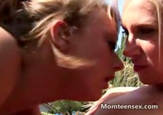 legal age teenager joins swinger couple outdoors
