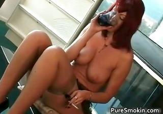 large boobs red head slit smoking bondage part7